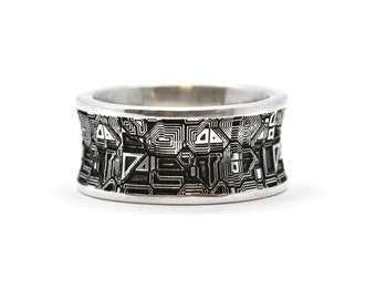 Circuit Board Ring Sterling Silver Men's Wedding Band Computer Jewellery Gamer Jewelry Motherboard Ring Groomsman Gift