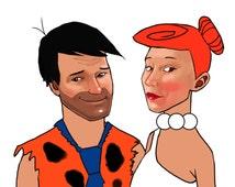 Custom Flintstones Couples Portrait