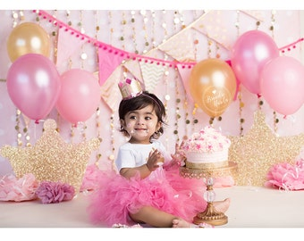 Princess First Birthday  Outfit, Shocking Pink tutu, Pink Princess outfit, First Birthday smash cake.