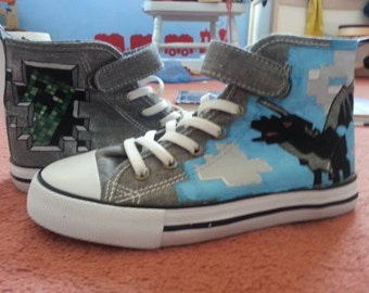 Custom customised customized converse, adult, kids, dinosaur, minecraft shoes,  comic, trainers, sneakers, toms, vans, hand painted