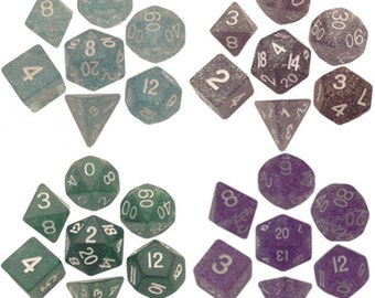 Polyhedral Dice Set Glitter 16mm Dungeons and Dragons Dnd Pathfinder d20 RPG Role Playing Games