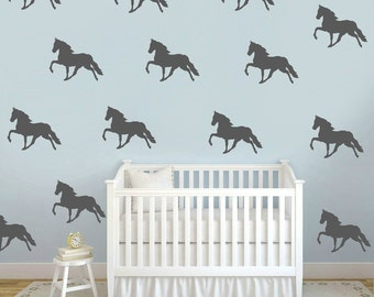 Horse Wall Decals, Faux Wallpaper, Horse Wall Decals, Equestrian Room Decals,  Horse