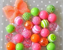 Neon Summer bubblegum necklace kit, 20mm chunky bead mix 25, 50, or 100 piece plus rhinestone bow, Hot pink lime green orange bead gumballs