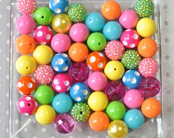 Bulk Brights chunky beads wholesale, Bubblegum beads 50 or 100 piece, DIY baby jewelry beads, Bulk plastic beads for children, Rainbow beads