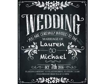 "Vintage WEDDING INVITATION - ""Rustic Chic Chalkboard"" - Black and White"