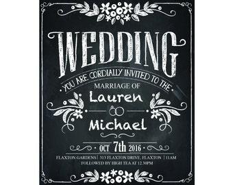"Vintage WEDDING INVITATION - ""Rustic Chic Chalkboard"" - Black and White"