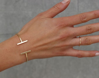 gold open BANGLE- bar bangle-Gold plated silver bangle-dainty bracelet-Gold Cuff Bracelet