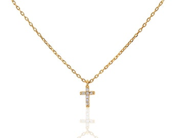 Tiny CZ Cross Necklace, cross necklace - silver cross necklace - tiny cross necklace cz - tiny cross necklace - cross Gold necklace