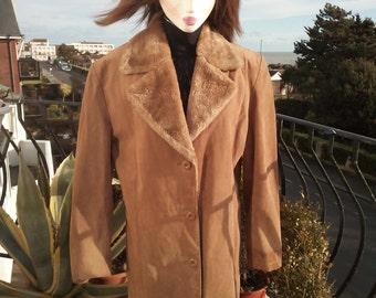 Vintage Ladies suede coat 1990's, now reduced price !