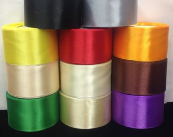 """2"""" wide Single Side Satin Ribbon 10 Colors.15 yards/roll.Selling Per Roll"""