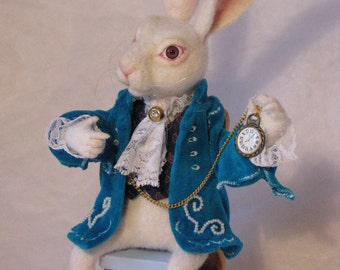 Needle Felted White Rabbit Alice in Wonderland in a turquoise coat