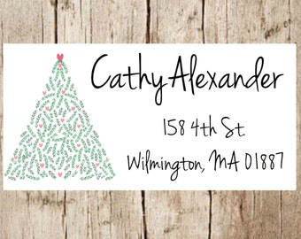 Christmas return address label,christmas address labels,christmas,christmas return address stickers,christmas tree stickers,christmas tree