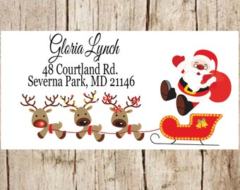 christmas address labels, santa address labels, holiday return address labels, christmas labels, christmas address stickers, custom address.