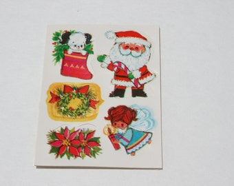 Vintage Christmas Seals Stickers, Santa Claus Puppy Dog in Stocking Angel Poinsettia Wreath, Kids Cute Stickers, 25 stickers