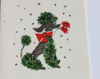 Vintage French Black Poodle Glitter Christmas Card, Hallmark Blank Note Card, Cute Puppy Dog Greeting Holiday Card