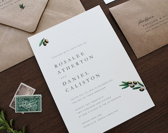 Olive Branch Wedding Invitation, Olive Branches Invitation, Classic Wedding Invitations, Simple Wedding Invitation, Rustic Invitation