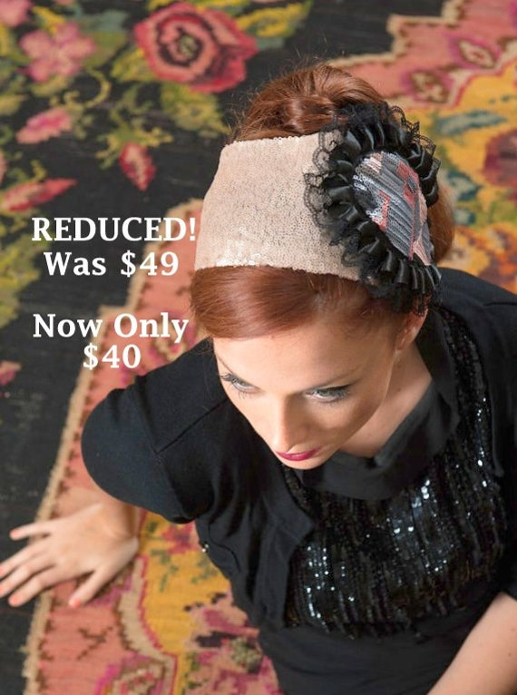Church Hat, Sequin Bandana, Stretchy Turban, Jewish Head Covering, Flower Embellishment, Dressy Fashion Headband, Elegant Wedding Hairband