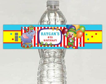 CARNIVAL CIRCUS water bottle label birthday - printable