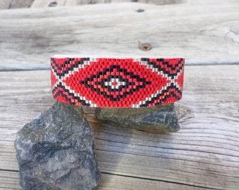 Red and black geometric cuff bracelet