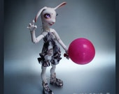"""OOAK Art resin Doll/  outfit for BJD """"Joy"""" Height  39 cm  (16') MSD / dress-overalls and pretty sandals / collectible doll"""