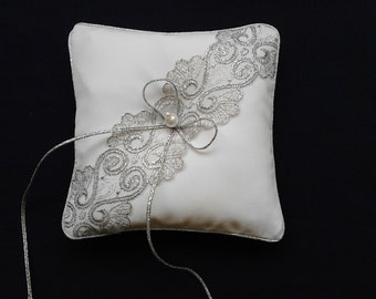 Ring Bearer Pillow/ silver lace on white