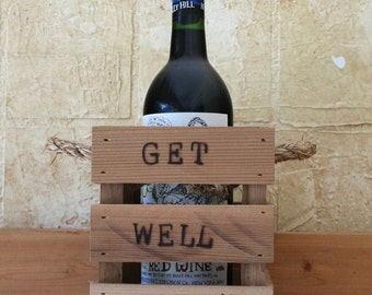 Rustic Wine Crate//Get Well Soon//Branded Wood Crate//Gift of Him//Wine box//