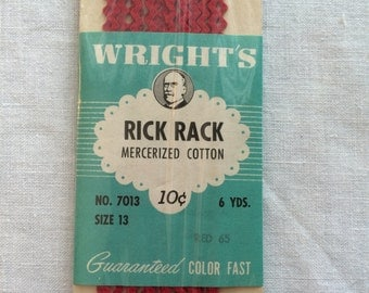 """Vintage New Red Small Baby Size 13 Rick Rack Trim 3/16"""" wide x 6 yards long by Wrights"""