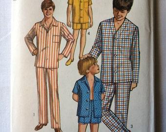 "Vintage 1970 Simplicity 8860 Teen Boys Size 14 Chest 32"" Waist 27"" Pajamas Pattern"
