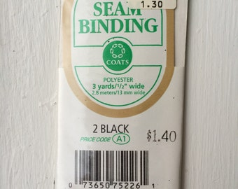 """Vintage New Black Seam Binding 1/2"""" wide x 3 yards long by Coats 100% Polyester"""