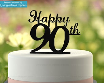"90th Birthday Cake Topper - ""Happy 90th"" - BLACK - OriginalCakeToppers"