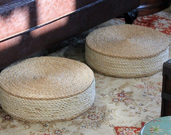 Round Straw Floor Pillows : Round rustic floor cushions/floor pouf/Straw pouf/Pouf