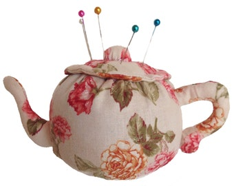 Pincushion, Teapot Pincushion, Teapot, Pin Cushion, Teapot Pin Cushion, Sewing Accessories, Pins, Pin Organizer, Walnut Shells,Gift CCTEA401