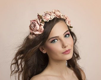 Leather Flower Headpiece Statement, Flowers Garland Wreath, Crown Christening, Wedding. Hair Accessory, Leather Floral Crown party dress.TR