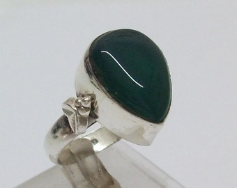 Antique silver ring 925mit green agate stone SR175