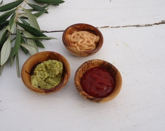 3 Olive Wood Small Dip Bowls, 3 Olive Wood Small sauce Bowl , Set of 3 small bowls