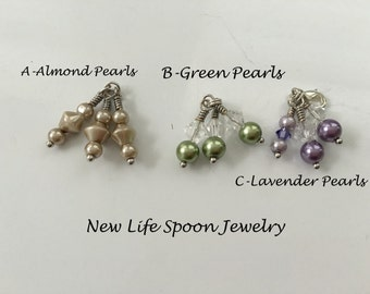 Spoon Bracelet Detachable Drop Handmade Gift Vintage Jewelry Interchangeable Drop Green Pearls; Almond Pearls; Lavender Pearls -5