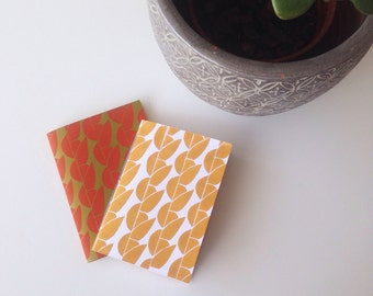 Lino Printed and Hand Bound A6 Notebook 'Greengage' Design in Mustard Yellow