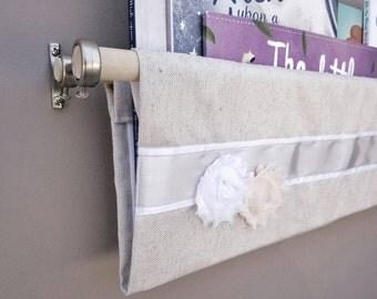 Linen Canvas Fabric Book Sling - Fabric Floral Rosette, White Satin Ribbon, Silver Satin Ribbon