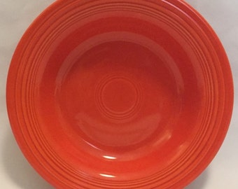 """This Listing Is For One-Vintage-Red-Fiesta Ware-Homer Laughlin-Made USA-8 1/4""""-Rimmed-Soup Bowl."""