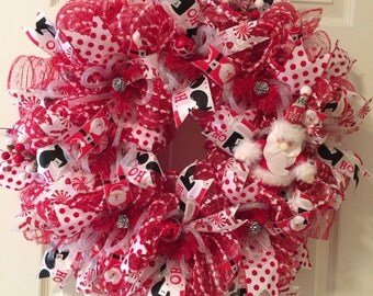 Red and White Santa Christmas Wreath