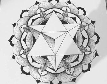 Geometric Tetrahedron Mandala Dotwork Illustration Pint A4