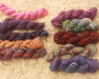 OOAK handsoun Mini Skeins set #12, Sock yarn Minis, 94 Grams total- Ready to Ship
