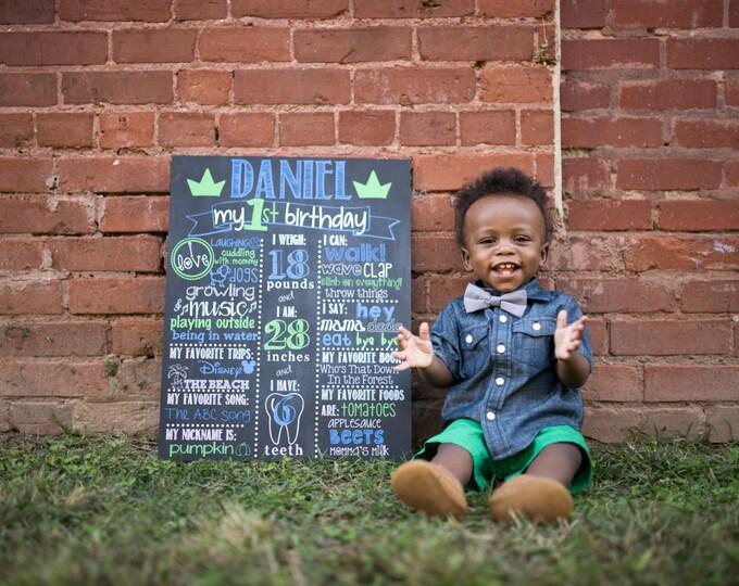 Little Prince Birthday Chalkboard / Royal Birthday Chalkboard / Prince Birthday Chalkboard / Royal / Crown