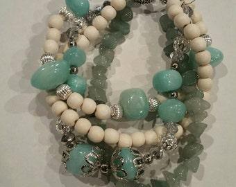 Turquoise, silver, green, & white entangled bracelet