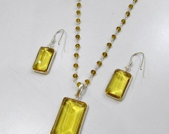 Sterling Silver Pendant Set with Yellow citrin quartz Rosary chain/ rectangle Shape Stone / Size18x42mm including Bail /Hydro quartz Jewelry