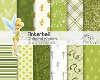 """Tinkerbell digital paper pack, instant download, 12"""" x 12"""""""