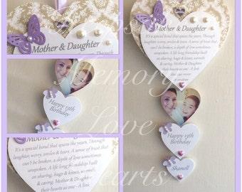 Birthday gift for Daughter personalised wooden keepsake heart