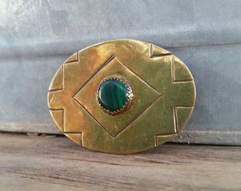 Vintage Navajo Brass and Malachite brooch/Pin signed RC.