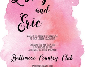 Pink Watercolor Digital Downloadable Wedding Invitation Suite with RSVP and Table Numbers