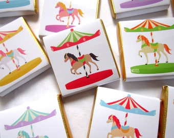 Personalised Chocolates Cute Carousel and Horse party favour birthday candy bar, pack of 25 pcs